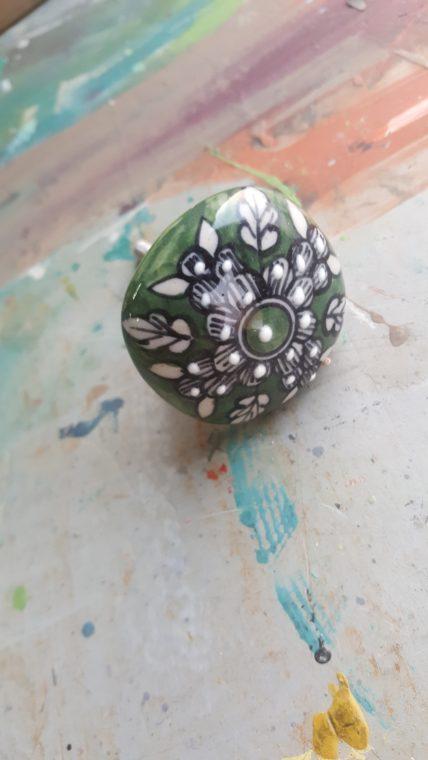Green Handpainted Drawer Knob